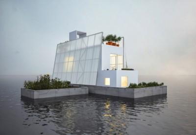 Casa flotante prefabricada por Carl Turner